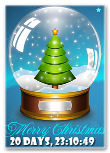 Countdown Days till Christmas by Snow Globe