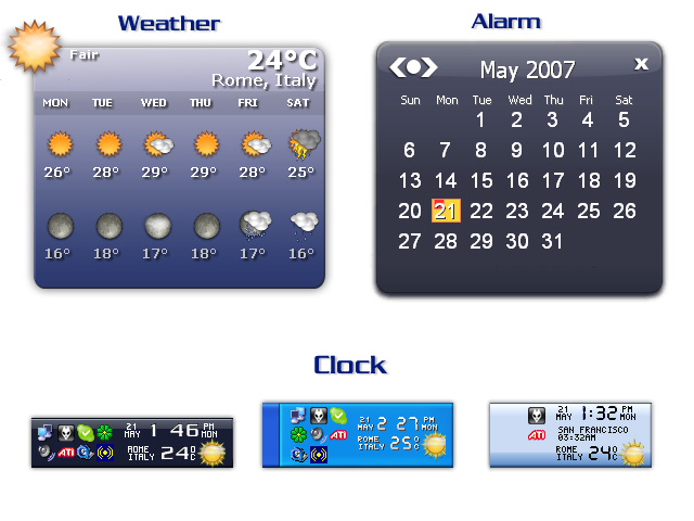 Widgets date time settings alarms skins current weather daily weather